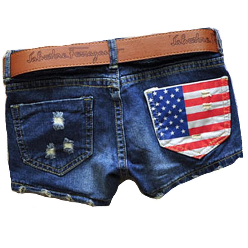 H&Q Hot Sales 2015 Summer New Arrival Women Fasion Denim Sexy America Flag Brand Jeans a Shorts Blue Short Pants Feminino 05-016(China (Mainland))