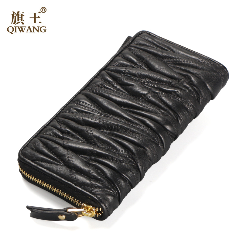 2016 Luxury Brand Women Wallet Sheepskin Women Wallet Long Patchwork Lambskin Ruched Wallet Woman Fashion Purse On Sales(China (Mainland))