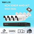 WANLIN CCTV System 4CH 1080P AHD DVR Kit 4PCS Waterproof Outdoor SONY IMX323 2 0MP AHD