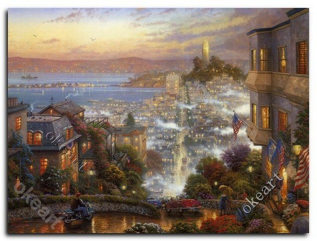 Free Shipping San Francisco Lombard Street Thomas Kinkade Prints Modern Home Decor Landscape