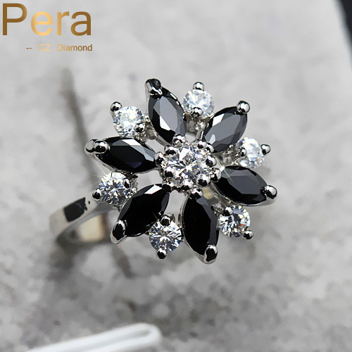 Romantic Women Engagement Jewelry Rarely Mystic Black Stone And White Cubic Z