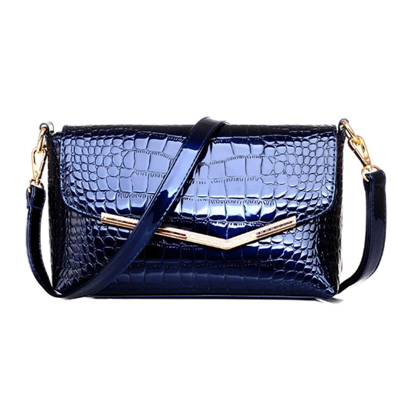 beige burgundy red blue Women messenger bags crocodile alligator leather texture envelope Metal frame flap shoulder bags lady(China (Mainland))
