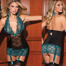 Free shipping 2015 Plus-size Sexy green royal Marine backless deep V lace lingerie(95%Polyester 5%Spandex)