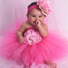 Girl Baby Party Tutu Dress  Flower Double Layers Fluffy Purple White Pink Tutu Dress With Headband Birthday Sets For Baby PT46(China (Mainland))