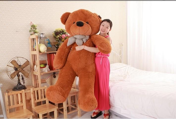 new plush teddy bear toy cute big eyes bow stuffed bear toy teddy bear birthday gift dark brown 180cm(China (Mainland))