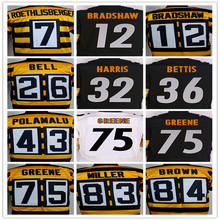 7 Ben Roethlisberger 26 Le'Veon Bell 43 Troy Polamalu 50 Ryan Shazier 84 Antonio Brown 80th jersey,Size M-XXXL(China (Mainland))