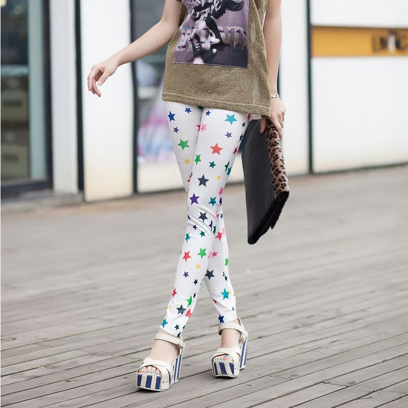 Multicolour five-pointed star faux denim legging ankle length trousers doodle slim warm - Maya Fashion store