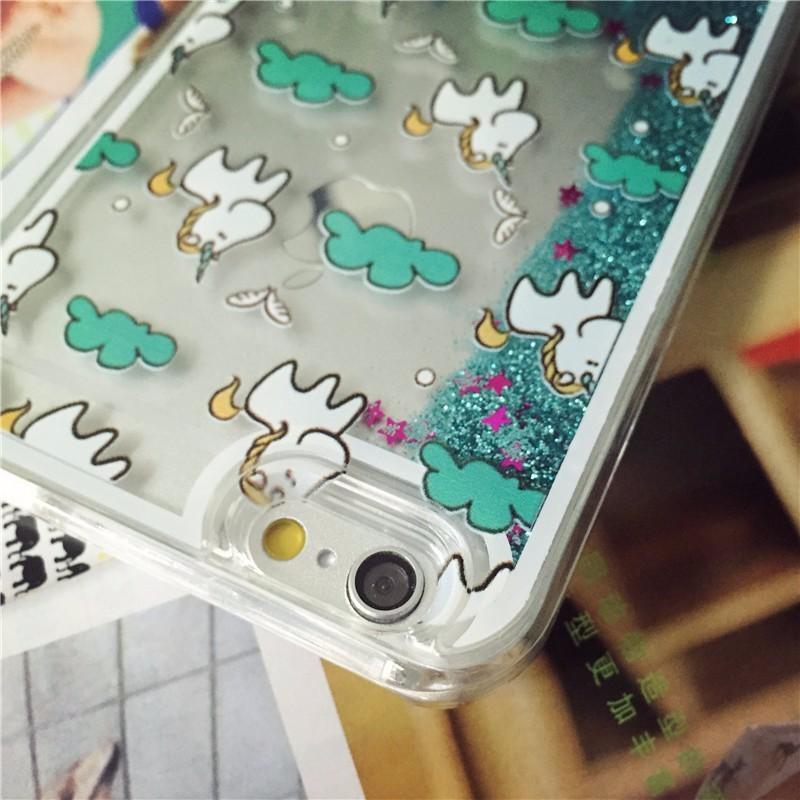Cute Cartoon Unicorn horse Case For iphone 5 5s Se 6 6s Plus 4.7 5.5 hard Cover Quicksand star Liquid Glitter Plastic girl coque