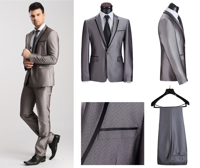 2015 Free Shipping fashion Grey Suits for Men 100% Wool Suits Top Formal Business Suits with Pants Wedding Tuxedo for Men XS-4XL(China (Mainland))
