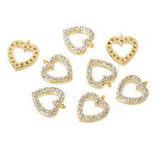 """Copper Charm Pendants Heart 14K Gold Plated Pave Zircon 10.0mm( 3/8"""") x 9.0mm( 3/8""""),1 Piece 2015 new(China (Mainland))"""