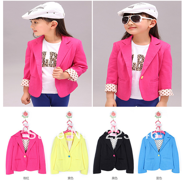 Free shippinh Kids Girls Cotton Slim Fit Jackets Suits Candy Color Blazers Casual Costume 2-7Y Dropshipping(China (Mainland))
