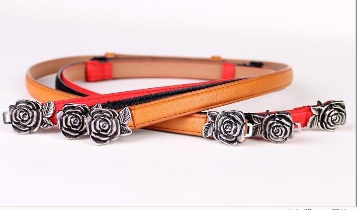 2015 Hotsale Exquisite Unique Rose Buckle Belt Cloth Decoration Personality Thin Waist Belt For Ladies(China (Mainland))
