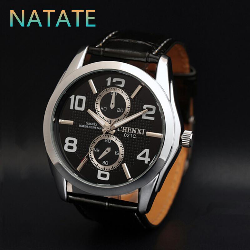 NATATE Business Casual Men Watches Men Luxury Original Brand CHENXI Two circles decoration Fashion Sports Leather Watch 1140(China (Mainland))