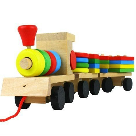 The Shape Of Three Section Blocks Cars Small Tractor Train Environmental Protection Wooden Toy Train(China (Mainland))