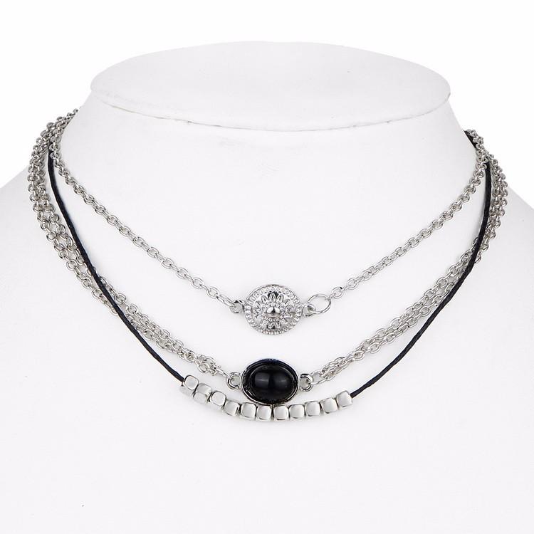 u246417km 3 pcs sets black  u2462 leather leather choker necklace