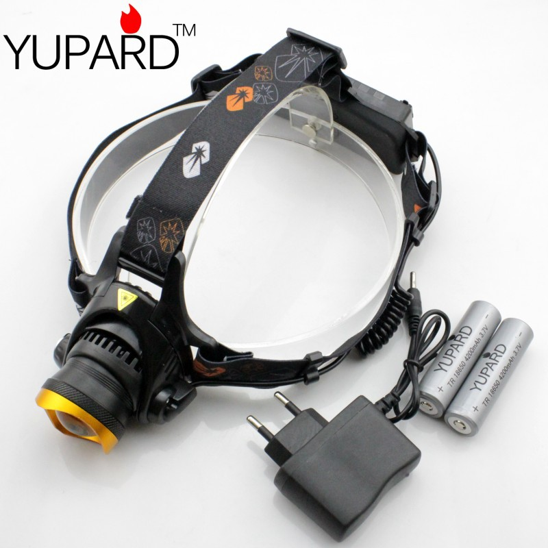 Cree XM-L2 LED USB Headlamp Headlight 2000LM zoomable Support Connect Power Bank+2*18650 4200mAh Battery+Charger