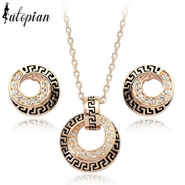 Iutopian Italina Elegant Geometric Style Rose Gold plated Jewelry Set Made High Quality #RG20011