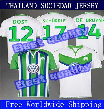 New Jersey 15 16 Wolfsburg football early football shirt 2015/16 Free Shipping DOST Caligiuri NALDO RODRIGUEZ DE Schurrle BRUYNE(China (Mainland))