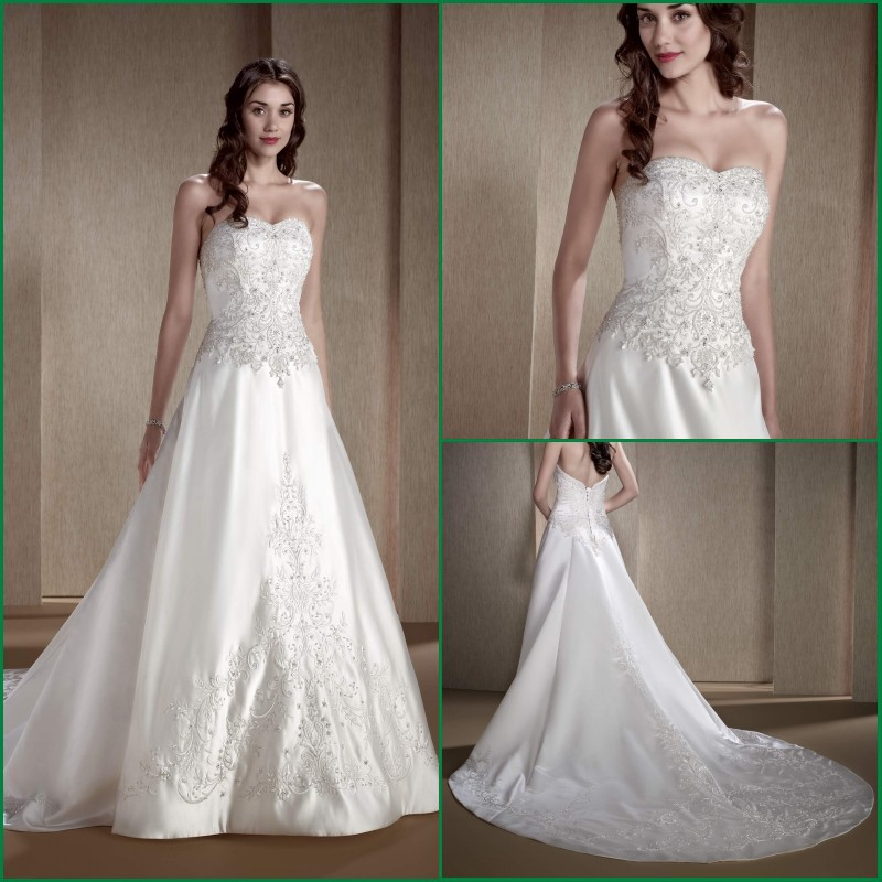 Sparkly Ball Gown Wedding Dresses: Gorgeous Real Made Ball Gown Sparkly Chapel Train Bride