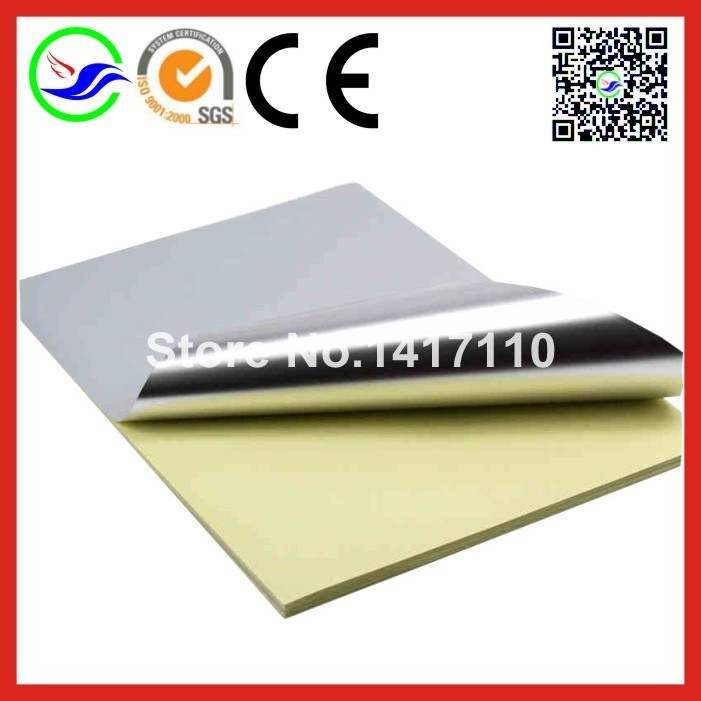 15 sheets A4 Self Adhesive Silver Aluminum Foil Printing Paper Copy Sticker Label Paper For Laser Printer(China (Mainland))