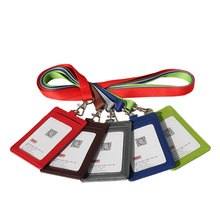 Official Work Permit Card Set Lanyard Solid Candy Colors PU Necklace Vertical ID Holders Company Office Supplies Wholesale(China (Mainland))
