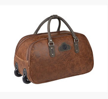 Genuine leather travel bag Crazy horse leather trolley travel bag genuine leather pull box luggage computer case luggage #0643(China (Mainland))