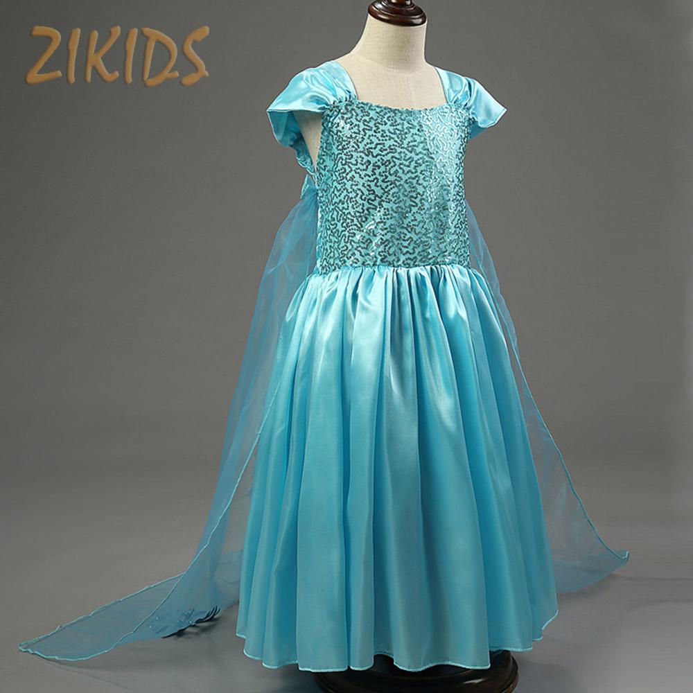 Kids Summer Dresses For Girls Anna Elsa Snow Queen Cosplay Costume Princess Party Cloak Dress Children Brand Kids Clothes 2016(China (Mainland))