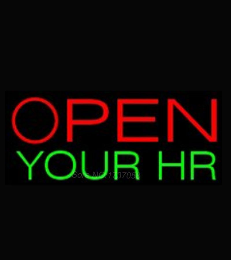 Open Your Business Hours Neon Sign Green Color Neon Light