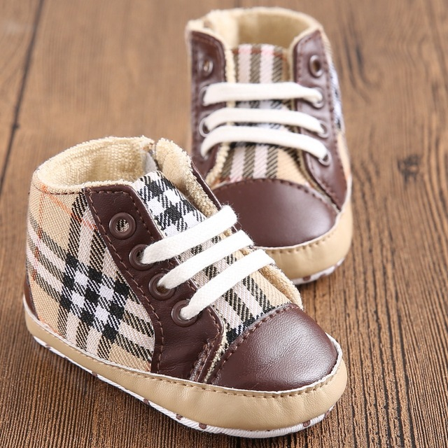 Drop Shipping New 2016 Fashion Plaid PU Leather Boy & Girls Baby Toddler Shoes High Quality Kids Children Baby Shoes 1077