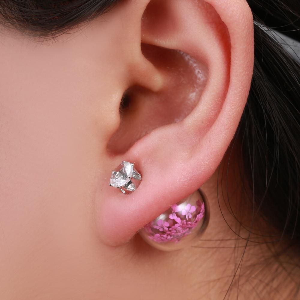 Rhinestone Women Stud Earring Double Side Red Baby's Breath Stud Earrings  Dried Flower Glass Earring Jewelry For Girlfriend Gift