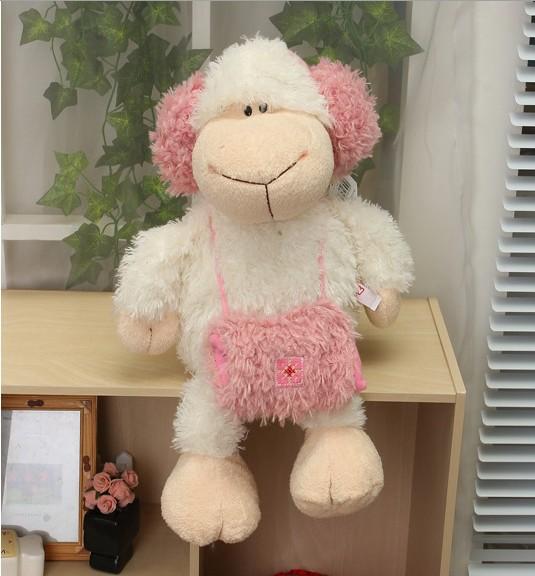 Discount Hot Sale NICI plush toy stuffed doll lei feng girl sheep headset lamb birthday gift 35cm 1pc(China (Mainland))