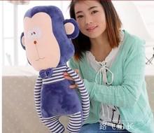 creative stuffed lovely monkey animal plush toys blue stripe monkey toy doll birthday gift about 70cm