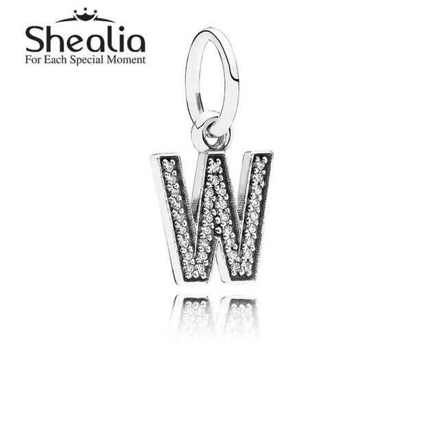 Подлинная стерлингового серебра 925 буква W мотаться подвески подвеска с четкими CZ для женщин подходит известный бренд DIY браслеты LE13W