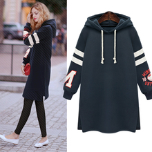 2016 NEW Europe and America plus thick velvet hooded long section of large size loose hedging long-sleeved Sweatshirts(China (Mainland))