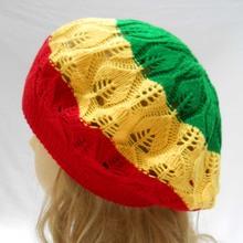 1PCS Tam Baret Hat Crochet Slouchy Dreadlocks Jamaica Rasta Reggae Beret Cap Red Yellow Green(China (Mainland))