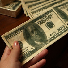 Funny 100$ Dollars Paper Napkin Toilet Tissue US Dollar Bill Paper Towel Novelty Fun Tricky Gift CX877392(China (Mainland))