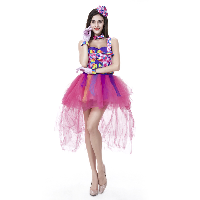 2016 harley quinn dresses candy color costumes for adult women halloween clown cosplay Free Shipping(China (Mainland))