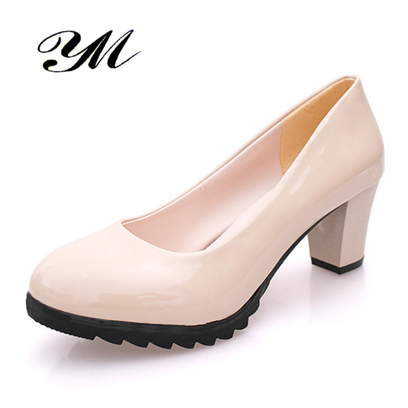 2017 Woman Pumps Sexy Simple Shoe Thick High Heel Platform Summer Round Toe Ladies Wedding Shoe Large Size 35-40 PU Leather
