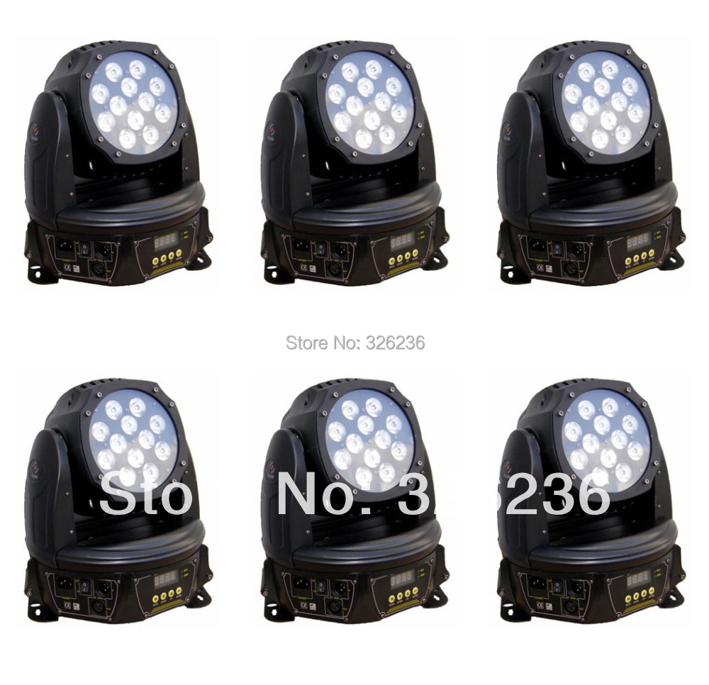 Freeshipping 6pcs/lot 12pcs*9W RGB 3IN1 Led Moving Head Light Zoom DMX512 Led Stage Light Unique Design Led Stage Effect Light(China (Mainland))