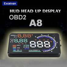 "Excelvan A8 5.5"" Auto Car Head-Up Display HUD Projector OBD II Vehicle Speeding Warning MPH with Anti-slip Pad Fuel Speedometers(China (Mainland))"