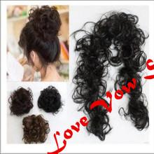 Buns Scrunchy Bun Hair Piece Updo Bride Bun Natural Hairpiece Wavy Messy Multifuctional Synthetic Curly Hair Chignon