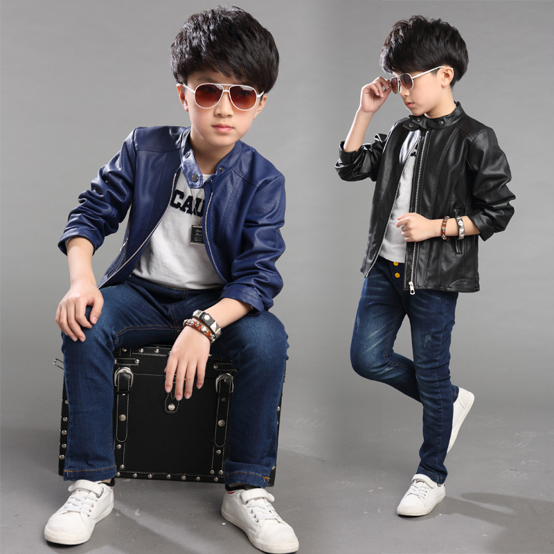 L Q SOONG Brands 2016 fashion PU jacket children long-sleeved solid spring autumn children's clothing boys leather jacket cool(China (Mainland))