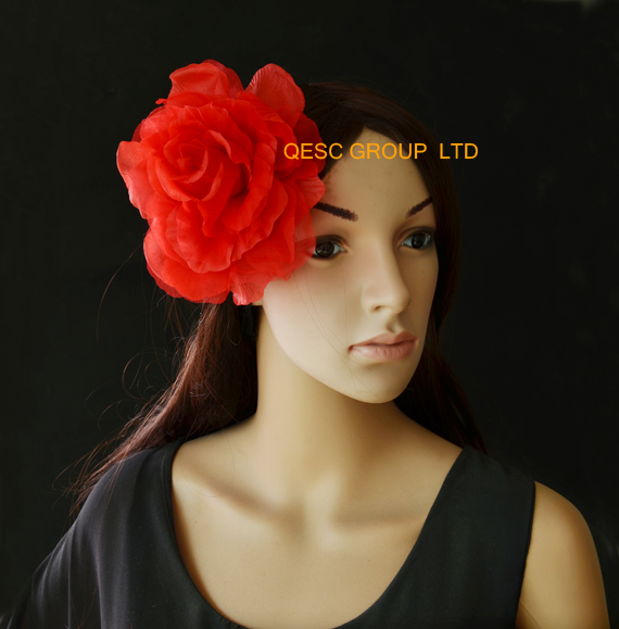 Red 15cm silk flower handmade flower with brooch pin hair clip for fascinator tea hat.(China (Mainland))