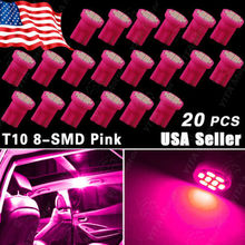 20pcs Car-styling led Lights PINK T10 Wedge Side 8-SMD Automobiles LED Bulbs Interior Light bulbs W5W 2825 158 192 168 194 -(China (Mainland))