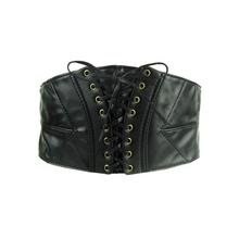 Buy New Women ultra wide belt Elastic slim Tied corset black Faux pu leather thin Punk Rivet Waist belt Cummerbund Girdle Accessory for $7.07 in AliExpress store