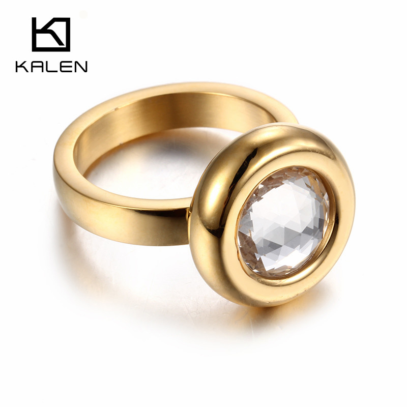 kalen new fashion dubai gold color rings stainless steel bagues femme gray stone cheap party engagement - Wedding Ring Price