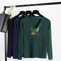 Women s Luxury Beading Diamonds Embroidery Bird Sweaters V neck Long Sleeve Vintage High Quality Females