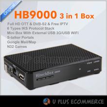 HITECHBOX HB9000 3 in 1 DVB-S2/OTT/IPTV With USB WIFI one year IPTV service Staler Portals Russia,Europe,Middle East ,Turkey