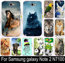 Hot Elephant Lion Wolf Horse Polar Bear Parrot Owl Cat Mouse Fox For Samsung galaxy Note 2 II N7100 note2 Phone Case Cover Shell(China (Mainland))