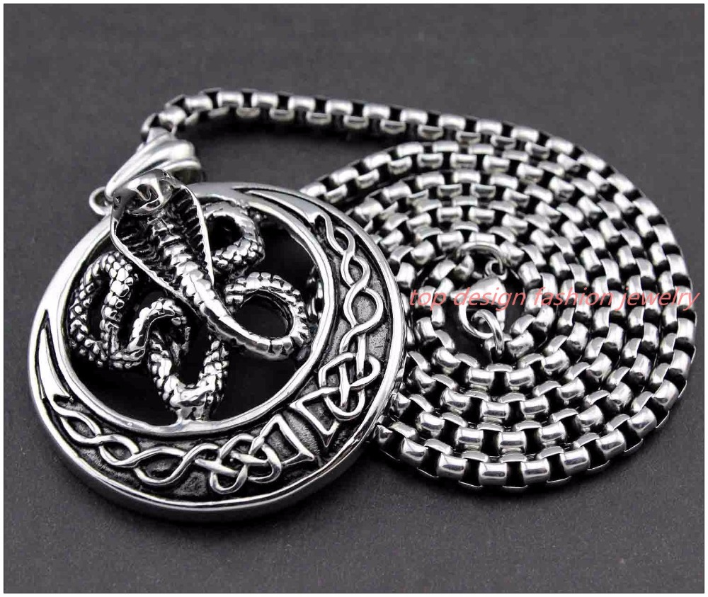 """50mm*50mm New Heavy Bike Jewelry 316L Silver Stainless Steel Snake Round Pendant Necklace For Men Boy Cool Gift Free Chain 23.6""""(China (Mainland))"""